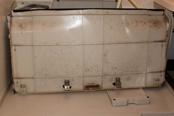 普段洗えないお風呂のエプロン部分にはこんなにカビが!!!
